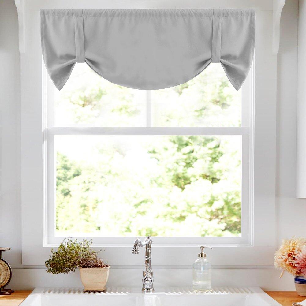 Tie Up Valance Grey Kitchen Curtains Room Darkening Tie Up Curtain 18 inch Tie Up Shade Rod Pocket Adjustable Balloon Window Shades, 1 Panel
