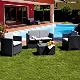 SALOTTO da giardino in RESINA ANTRACITE Mod. COLORADO Set 4 pz con cuscini