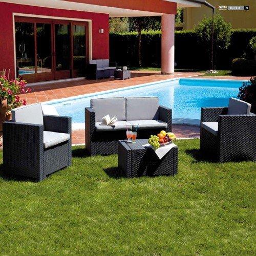 Salotto in rattan da arredo giardino per esterno tavolo divano ...