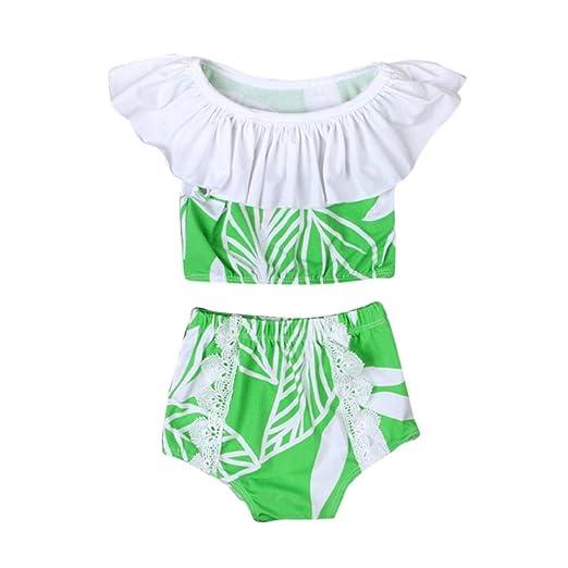 0d608d6eb8b4 Amazon.com  KONFA Teen Baby Girls Swimwear Short Print Tops+Shorts ...