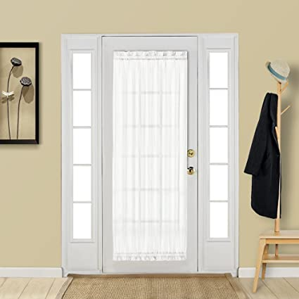 Amazon Com Aquazolax White French Door Curtain Panel Elegant Soild