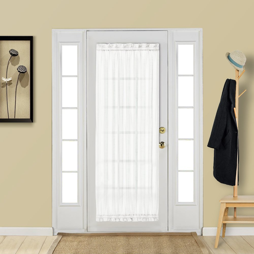 Aquazolax Patio Door Curtain Panel Elegant Solid Sheer Curtain 25''x72'' Voile Drapery for French Door/Window with Rod Pocket - 1 Pair, Off-White