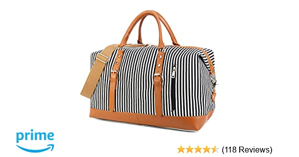 22b09858c354 CAMTOP Weekend Travel Bag Ladies Women Duffle Tote Bags PU Leather Trim  Canvas Overnight Bag Luggage (Black)