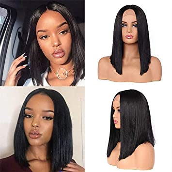 Middle Part Lace Front Wig for Women Short Black Bob Wig Straight Synthetic  Hair 15  cabd2e62a