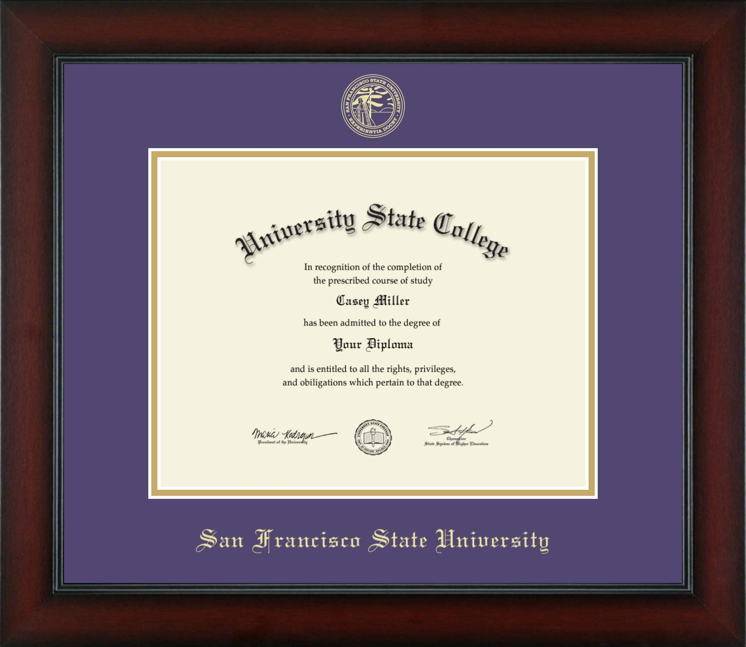 San Francisco State University - Officially Licensed - Gold Embossed Diploma Frame - Diploma Size 11'' x 8.5''