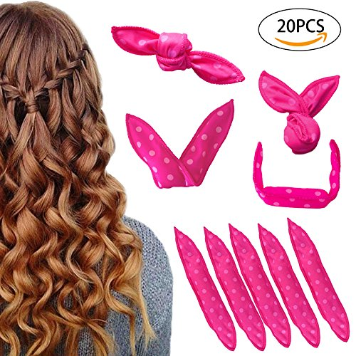 Hair Curlers, 20 Packs Amaeutty Sleeping Soft Sponge Rollers for Long, Short, Thick & Thin Hair, Pillow Hair Rollers and No Heat Foam Hair Curlers for Women & Girls - Pillow Curlers - Pink