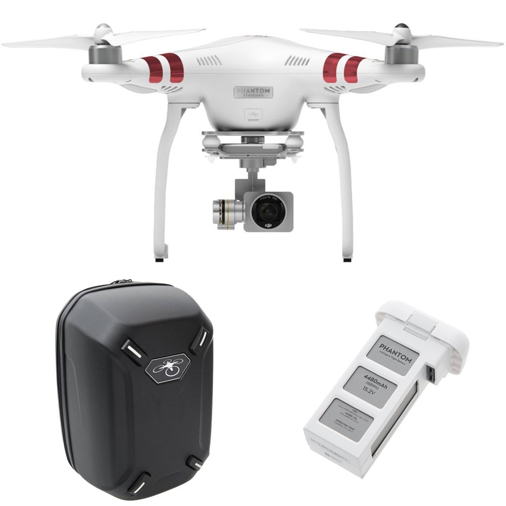 DJI Phantom 3 Standard Quadcopter Aircraft with 3-Axis Gimbal and 2.7k Camera – Bundle with Spare Battery