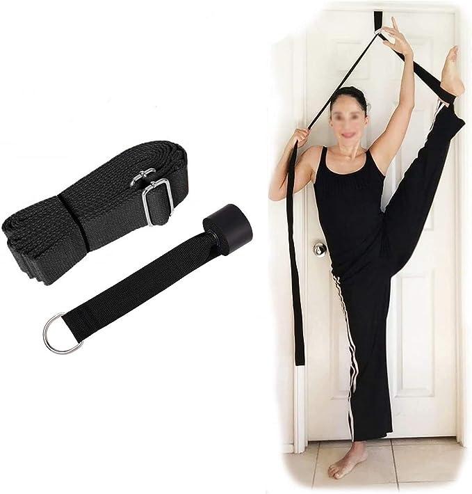 Hossom Correa de Yoga, Entrenador de flexibilidad de la Puerta, Correa de Estiramiento de piernas Ajustable, Cinta elástica para la Pierna de ...