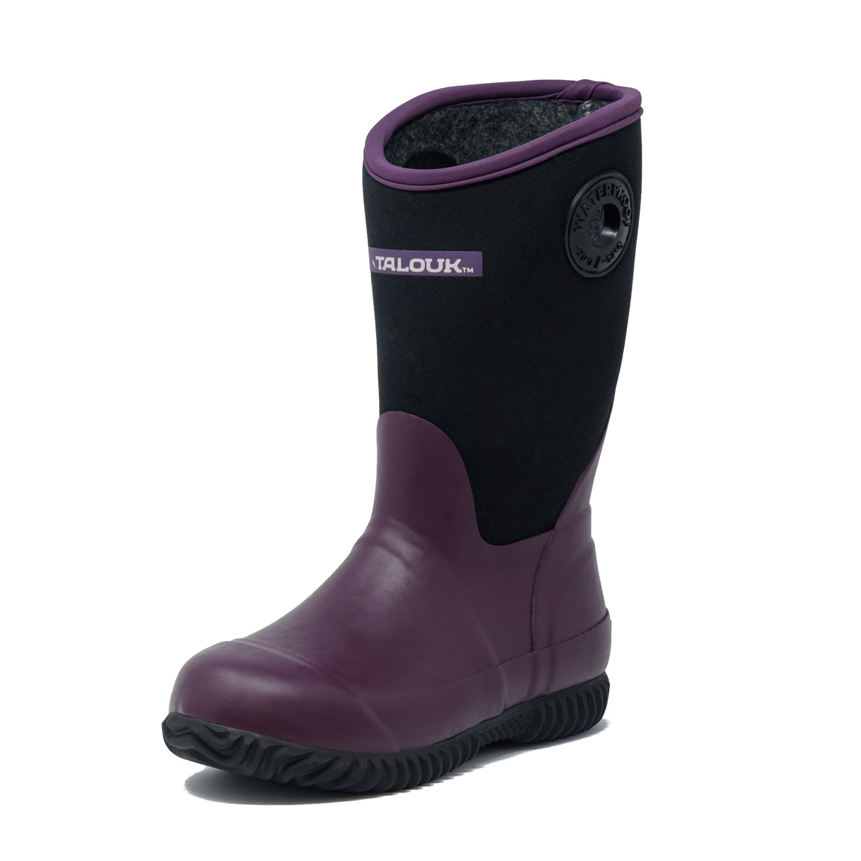 Unisex Little//Big Kids Classic Waterproof Rubber Neoprene Rain Boots TALOUK Whipper Stomper