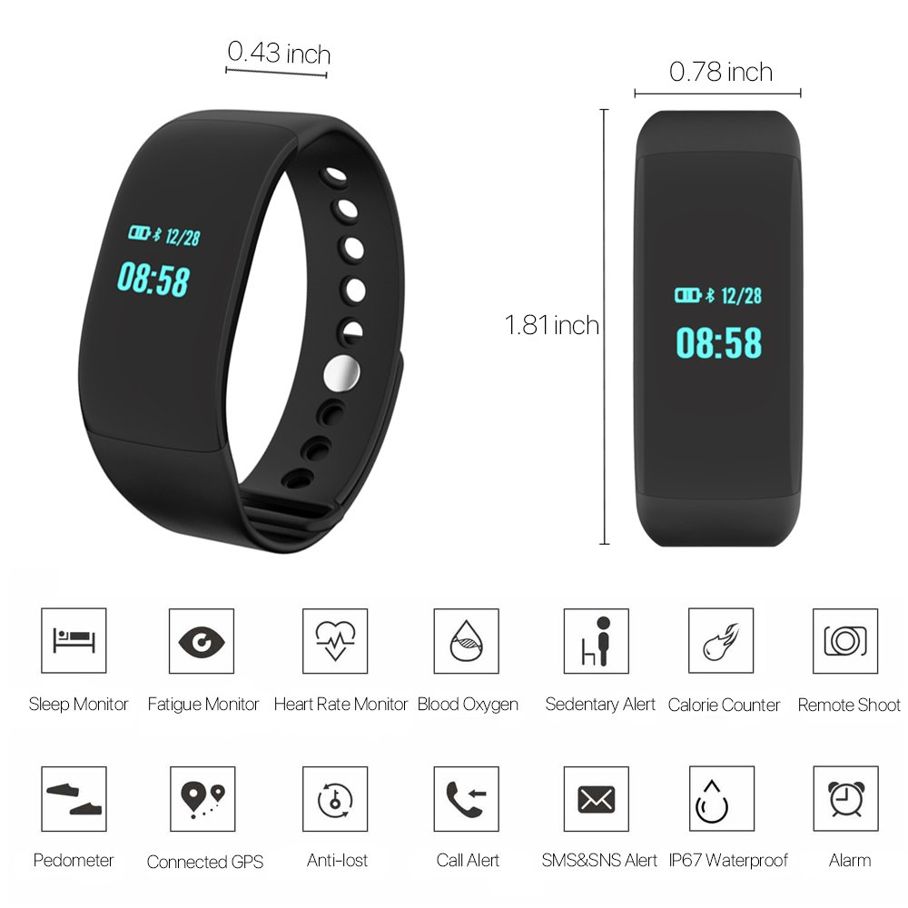 ievei Fitness Tracker with Heart Rate Monitor, Step Tracker Activity Smart Sport Pedometer Watch