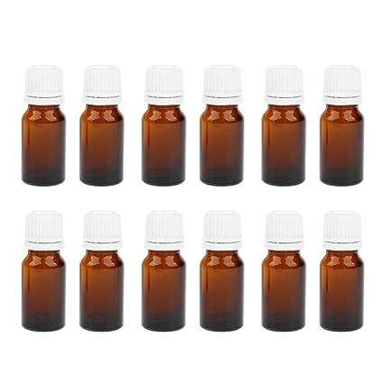 Homyl 12 Unidades Botellas de Vidrio guardar Perfume Suero con Gotero Belleza maquillaje - Ámbar 10ml