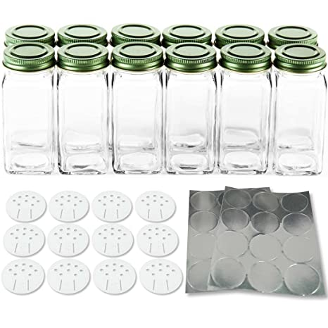 amazon com 12 square glass spice bottles 4 oz simply organic small