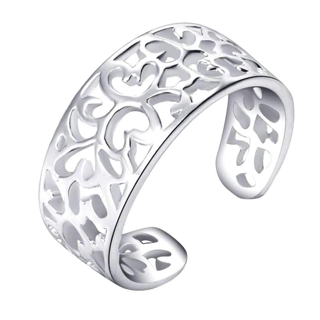 MOMIMO Adjustable Sterling Silver Toe Rings for Women Open Rings Pinky Ring -Qiaofulicheerfully