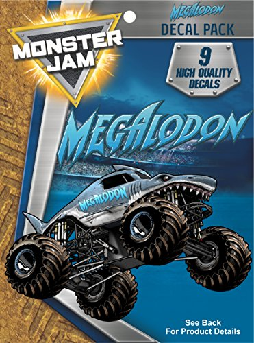 Monster Jam Megalodon Trucks Decal Pack for MacBook, Laptop, Vehicle - Includes 9 Stickers
