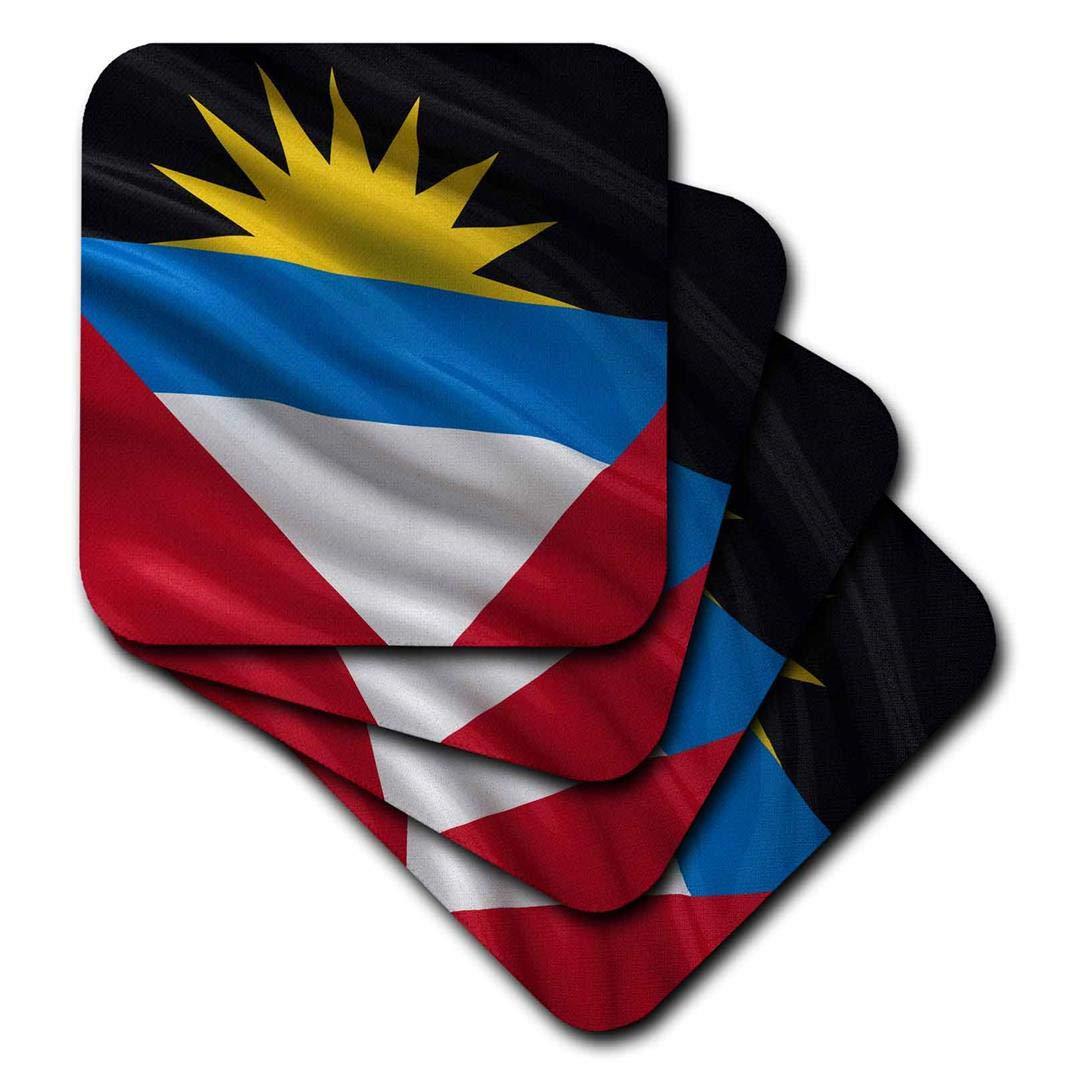Set of 4 3dRose CST/_178798/_3 Flag of Antigua /& Barbuda Waving in The Wind Ceramic Tile Coasters,