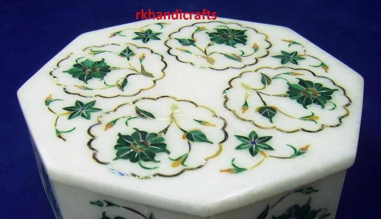 5'' Octagon White Marble Malachite Flower Art Trinket Cum Multi Use Box Inlay Fine Work by rkhandicrafts (Image #2)