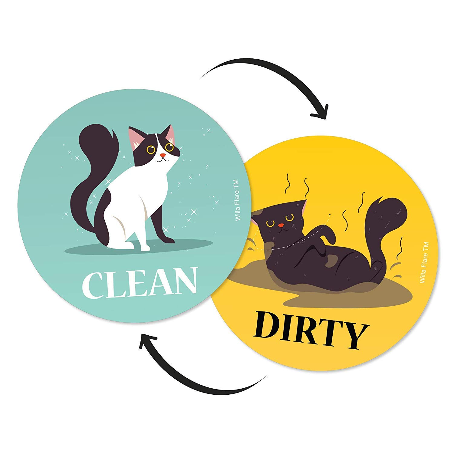 Dishwasher Magnet Clean Dirty Sign | Kitchen Label for Home Organization | Funny Clean Dirty Dishwasher Magnet Cat Accessories and Funny Cat Stuff Gifts | Double Sided (Cartoon Cat, Updated 3.5 inch)