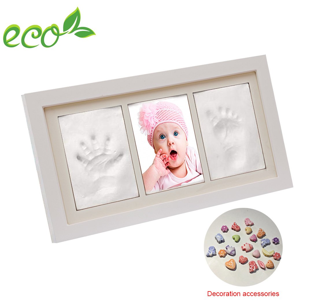 Baby Handprint and Footprint Photo Frame kit, Sweetaus Baby shower Keepsake, Perfect Baby Shower Gift (S 029 B-FBM)