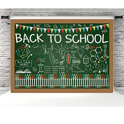 MMY 7x5ft Vinyl Back to School Party Photo Background Back to College Party Backdrops Students Knowledge Classroom Scene Chalkboard Learning Tools First Day of School Photo Prop - School Vinyl