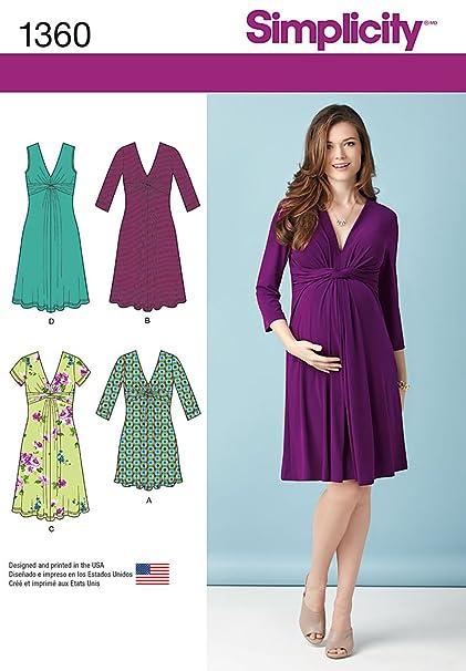 475afe356af Amazon.com: Simplicity Pattern 1360 Misses' Maternity Knit Dress or ...