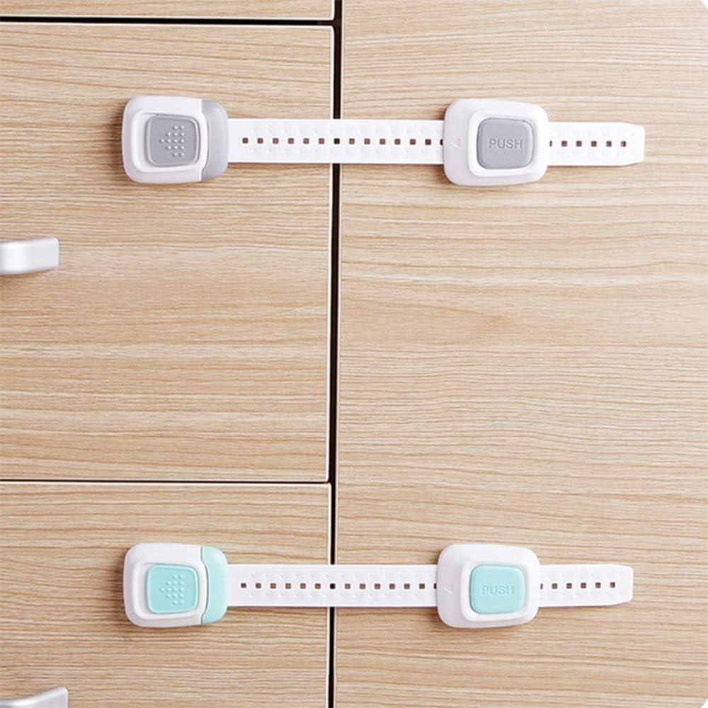 MINGZE 8 Pieza Cerraduras de Seguridad para Ni/ños Extra Fuerte 3 M Adhesivo Bloqueo de Seguridad Cajones Bebe Cierres para Armarios Nevera Cocinas Puertas Inodoros Ventanas Refrigerador WC