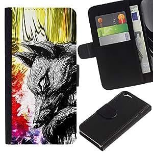 Be Good Phone Accessory // Caso del tirón Billetera de Cuero Titular de la tarjeta Carcasa Funda de Protección para Apple Iphone 6 4.7 // Abstract World Painting