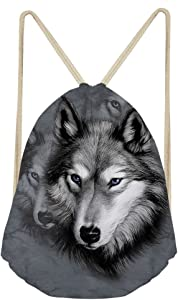 Beauty Collector 3D Wolf Drawstring Backpack Custom Small School Bags for Boys Zoo Travel Bag