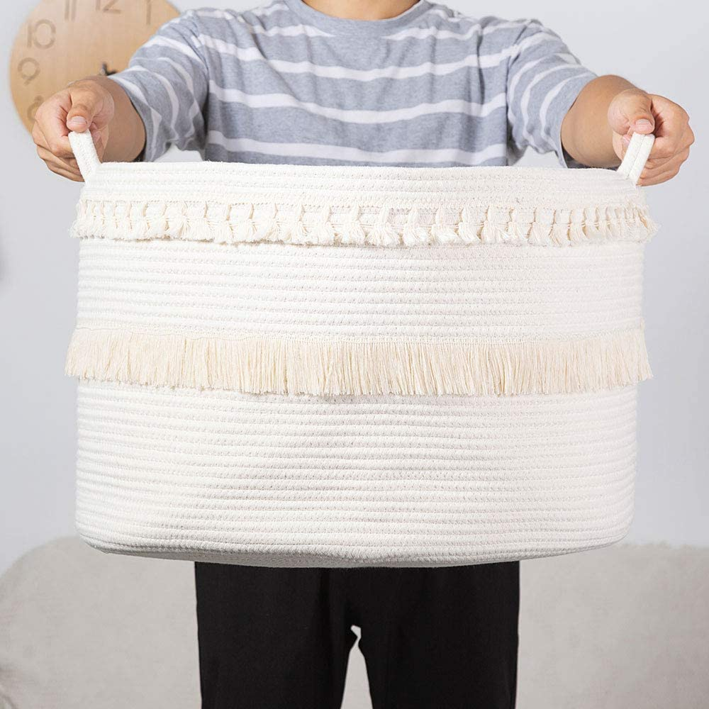 Large Cotton Rope Basket, Double Macrame Tassel Storage Basket with Handle Rope Woven Nursery Hamper Cotton Storage Bin for Clothes, Blankets, Pillow and Toys, 20 x 20 x 13.8 Inches, White