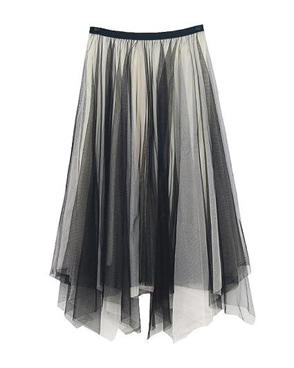 GladiolusA Falda Tul Mujer Elegantes Cintura Alta Asimetrica Kilt ...