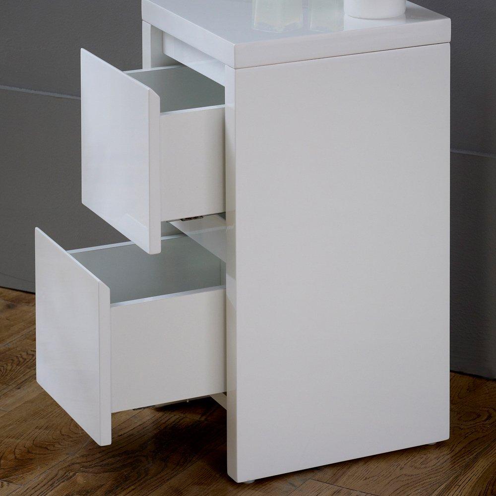 Blanco de alto brillo delgado 2 cajón - mesita de noche: Amazon.es ...