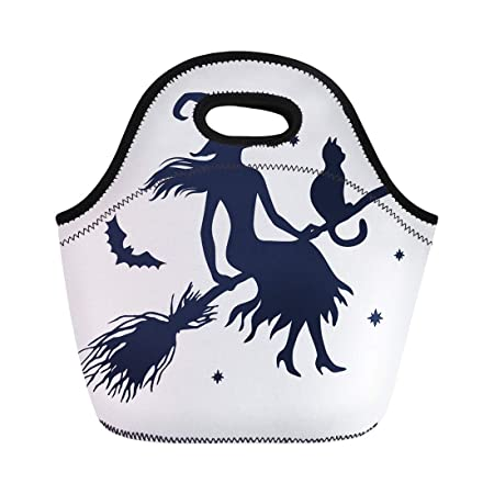 e9153efc8604 Amazon.com: Semtomn Lunch Tote Bag Halloween Silhouette of Witch Cat ...