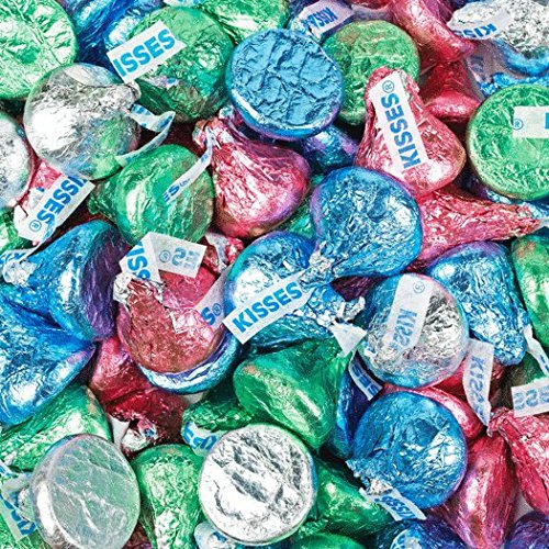 HERSHEY'S Kisses Candy Light Blue, Light Green, Pink and Sil