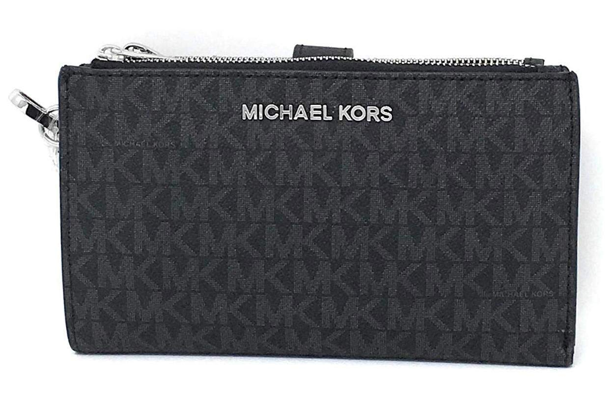 Michael Kors Jet Set Travel Double Zip Saffiano Leather Wristlet Wallet (Black PVC/Silver Hardware) by Michael Kors