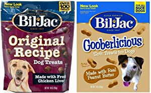 Bil-Jac Real Chicken Soft Treats for Dogs 2 Flavor Variety Bundle Original Recipe Liver Treats Gooberliscious Peanut Butter Flavor Treats, 10 Ounces Each