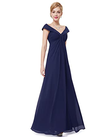 6fbf0923c54 Ever Pretty Juniors Off Shoulder V Neck Floor Length Navy Blue Prom Dress 4  US at Amazon Women s Clothing store
