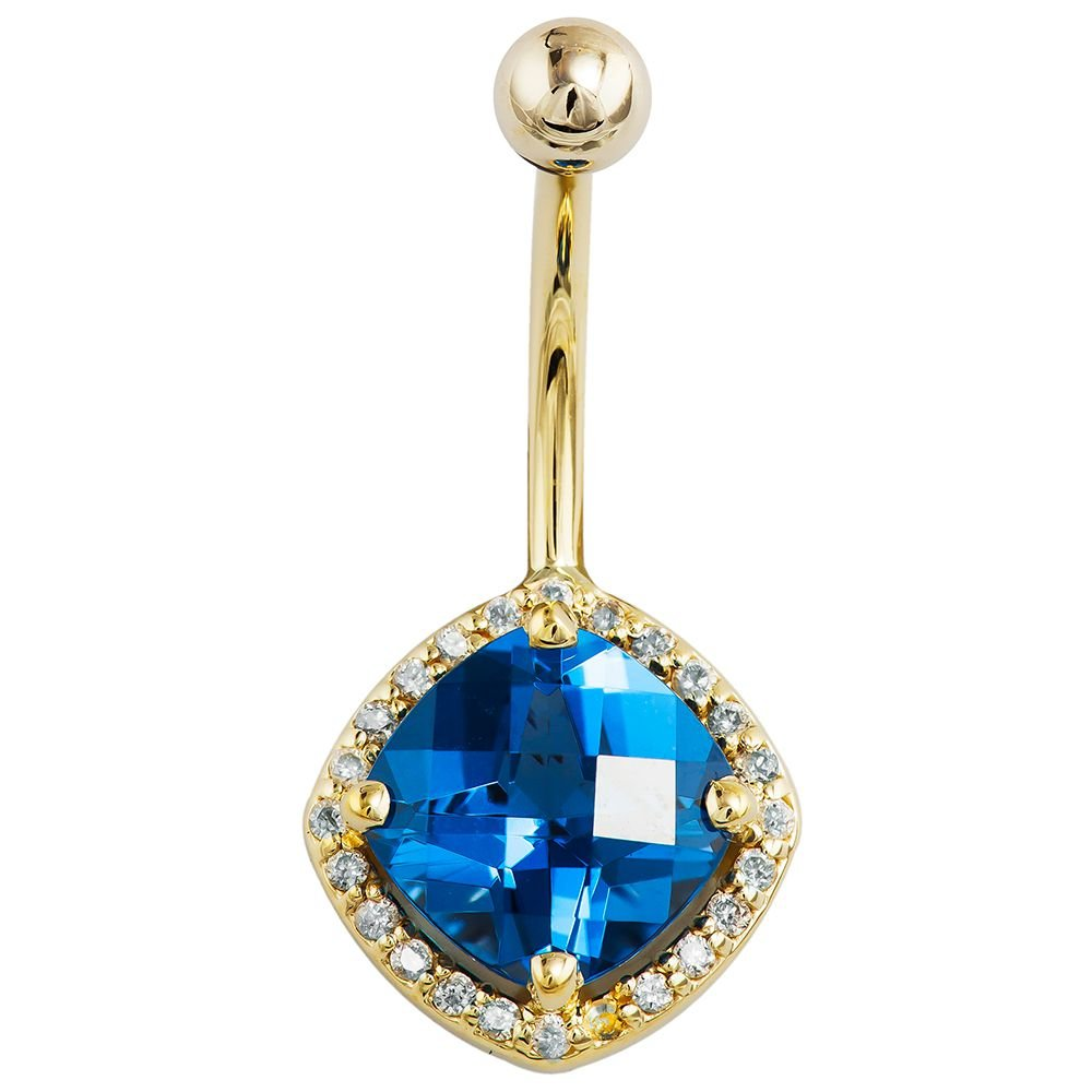 London Blue Topaz Diamond Halo Style 14k Yellow Gold Belly Ring 3/8''