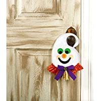 """Family Friendly Ghost Door Hanger Halloween Trick or Treat Party Decoration, Plastic, 13"""" x 7"""" x 1."""