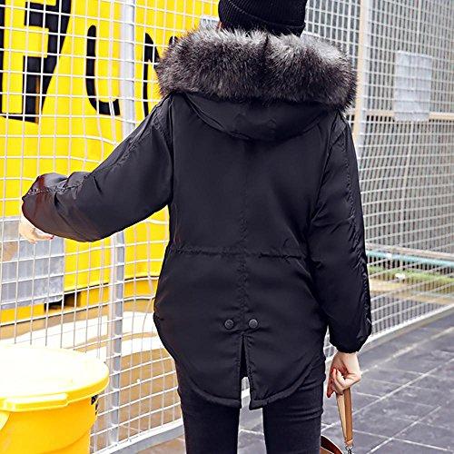Lammy Chaqueta Grueso Pelo Invierno outwear Abrigo de Mujer WINWINTOM Collar Moda más Negro Casual w8vpzqH
