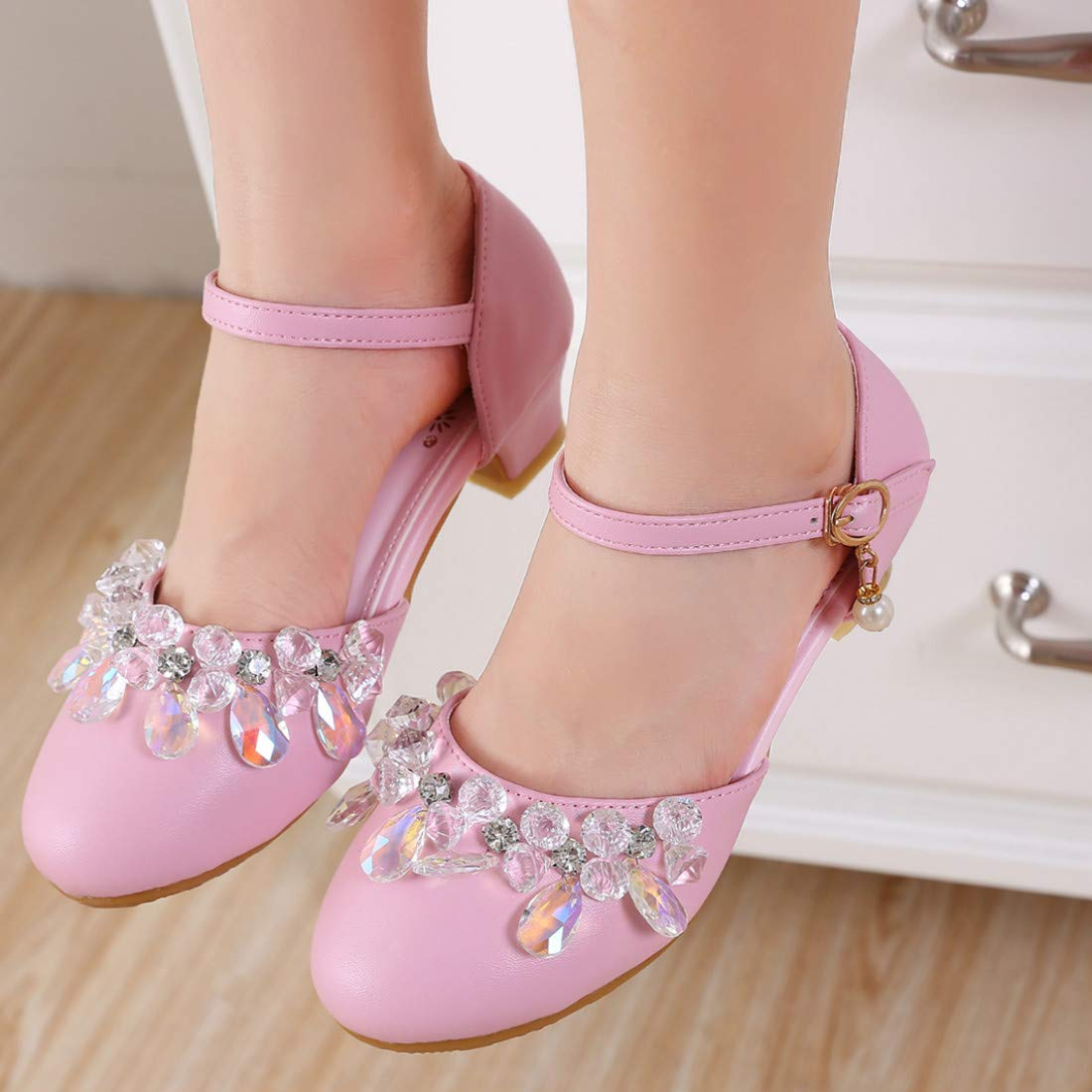 YIBLBOX Kids Girls Mary Janes Shoes Glitter Low Heels Bridesmaids Princess Party Dress Shoes YBBUS-PYNKIPX3055