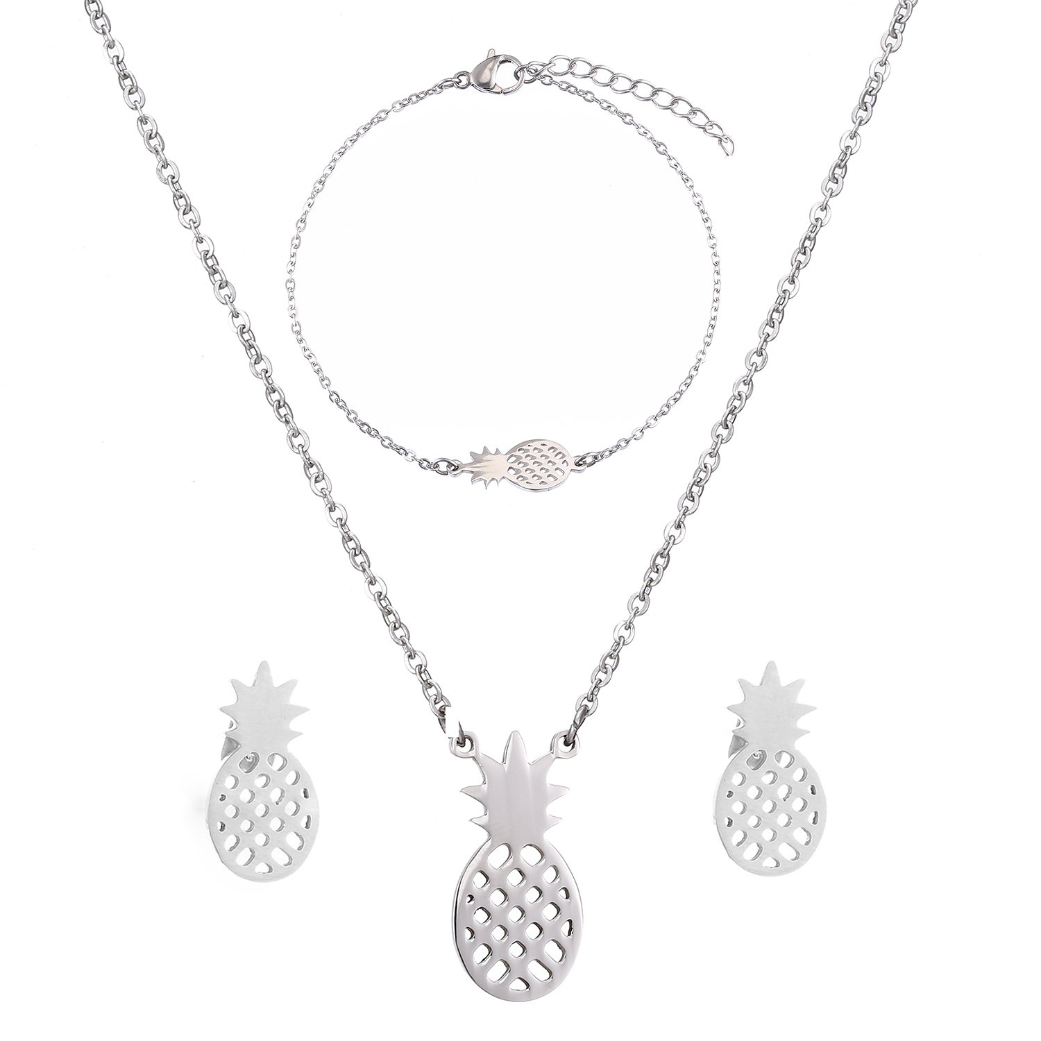SKQIR Womens Stainless Steel Pineapple Jewelry Sets (Earrings+Bracelets+Necklaces Jewelry Set) Yiwu Suqi Jewelry Co. Ltd SKQIR-1709 Gold Set