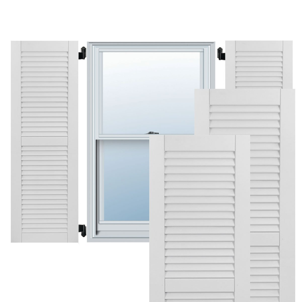 18W x 75.375H Per Pair Primed Ekena Millwork CWL18X075PRC Exterior Composite Wood Louvered Shutters with Installation Brackets