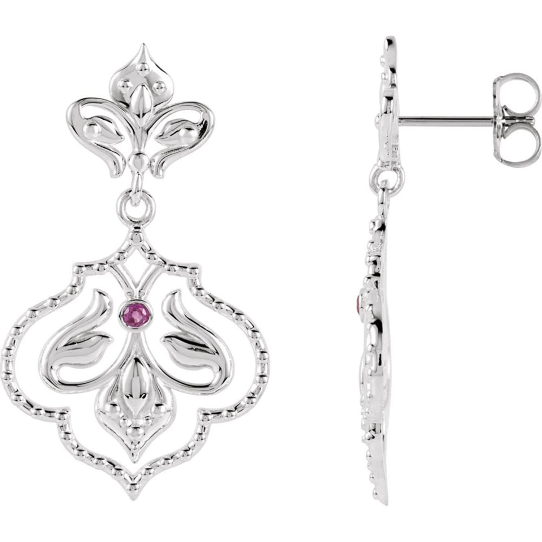 Sterling Silver & 14K White Ruby Dangle Earrings