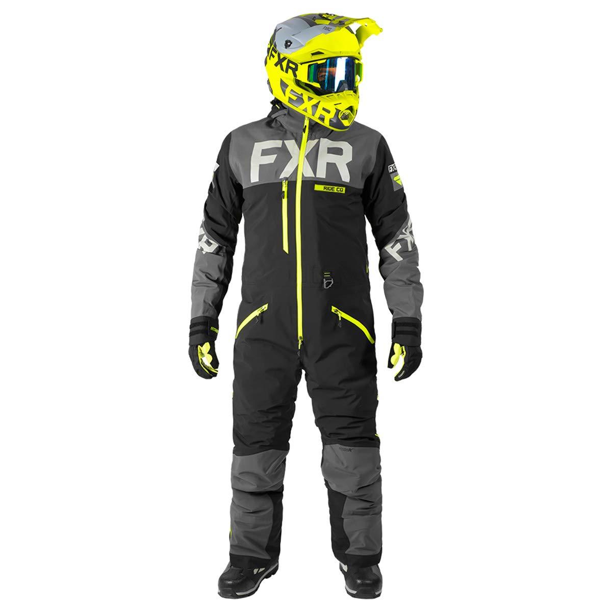 Black//Charcoal//Hi Vis, Medium FXR Mens Helium Lite Trilaminate Monosuit FXR Racing