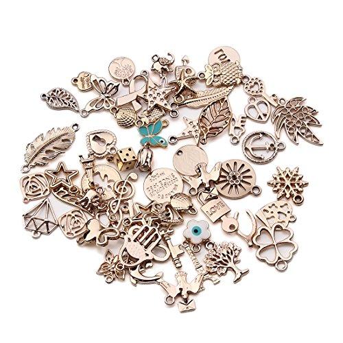 Linsoir Beads Designs Mixed European Charms 36 pcs Wishbone Heart Love Anchor Assortment Bracelet Charm KC Gold Tone Charm Assortment 15 Designs Random Mixed