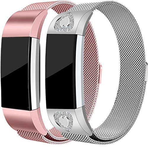 For Fitbit Charge 2 Bands, Stainless Steel Milanese Loop Metal Charge 2 Bands Replacement Accessories with Unique Magnet Lock, Small, White Diamond and Pink Gold