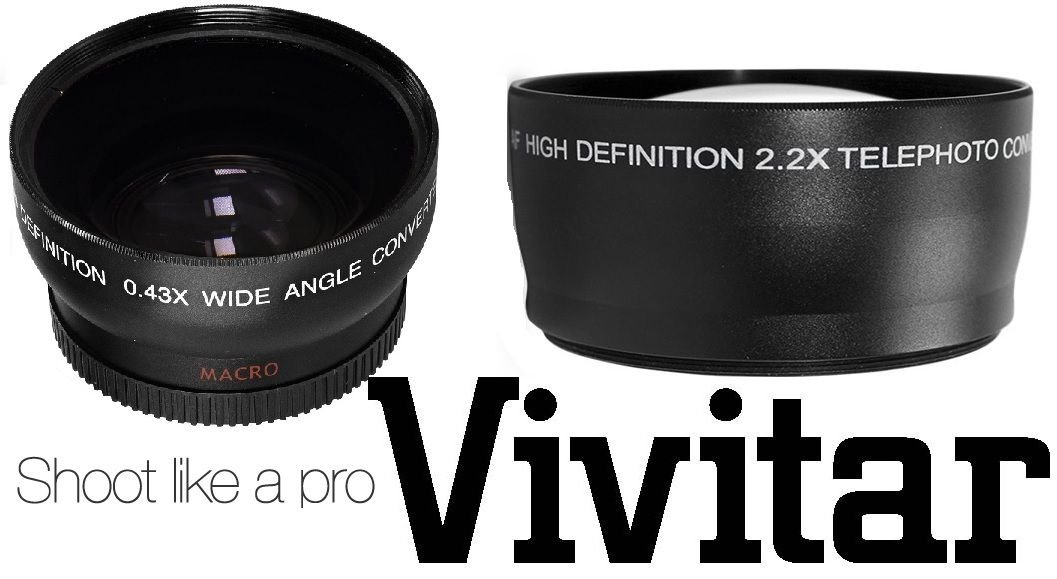 HI DEF 2PC LENS KIT PRO HD WIDE ANGLE & TELEPHOTO LENS for NIKON D3200 (52mm Compatible) by -vivitar