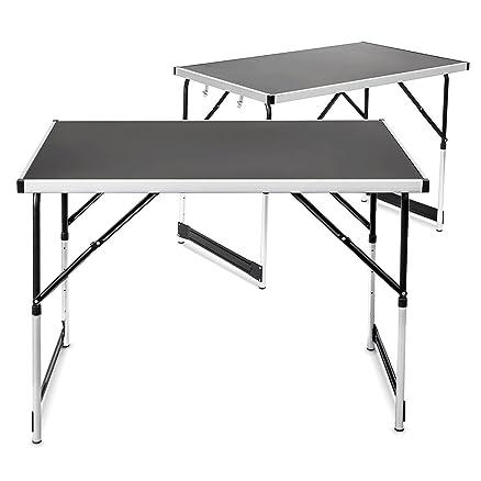 Relaxdays Set di 2 Tavoli in Alluminio Pieghevoli, Regolabili in ...