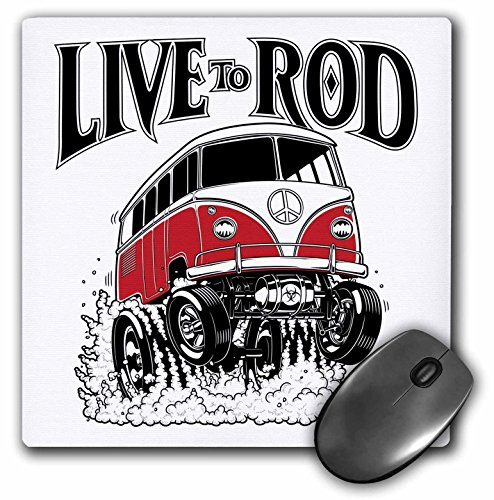 3dRose Mark Grace Cars and Wild RODS - Live to Rod - A 1964 microbus Nailing it, gets air and Smoke, This Bug Lives to Rod - Mousepad (mp_217344_1)