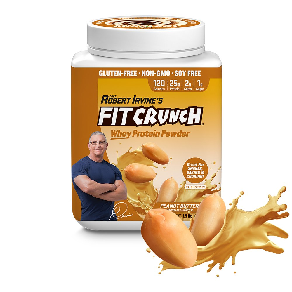 FITCRUNCH Tri-Blend Protein   Designed by Robert Irvine   120 Calories, 25g of Protein & 1g of Sugar   Mixology Technology, Gluten Free, Soy Free & Non-GMO (Peanut Butter)