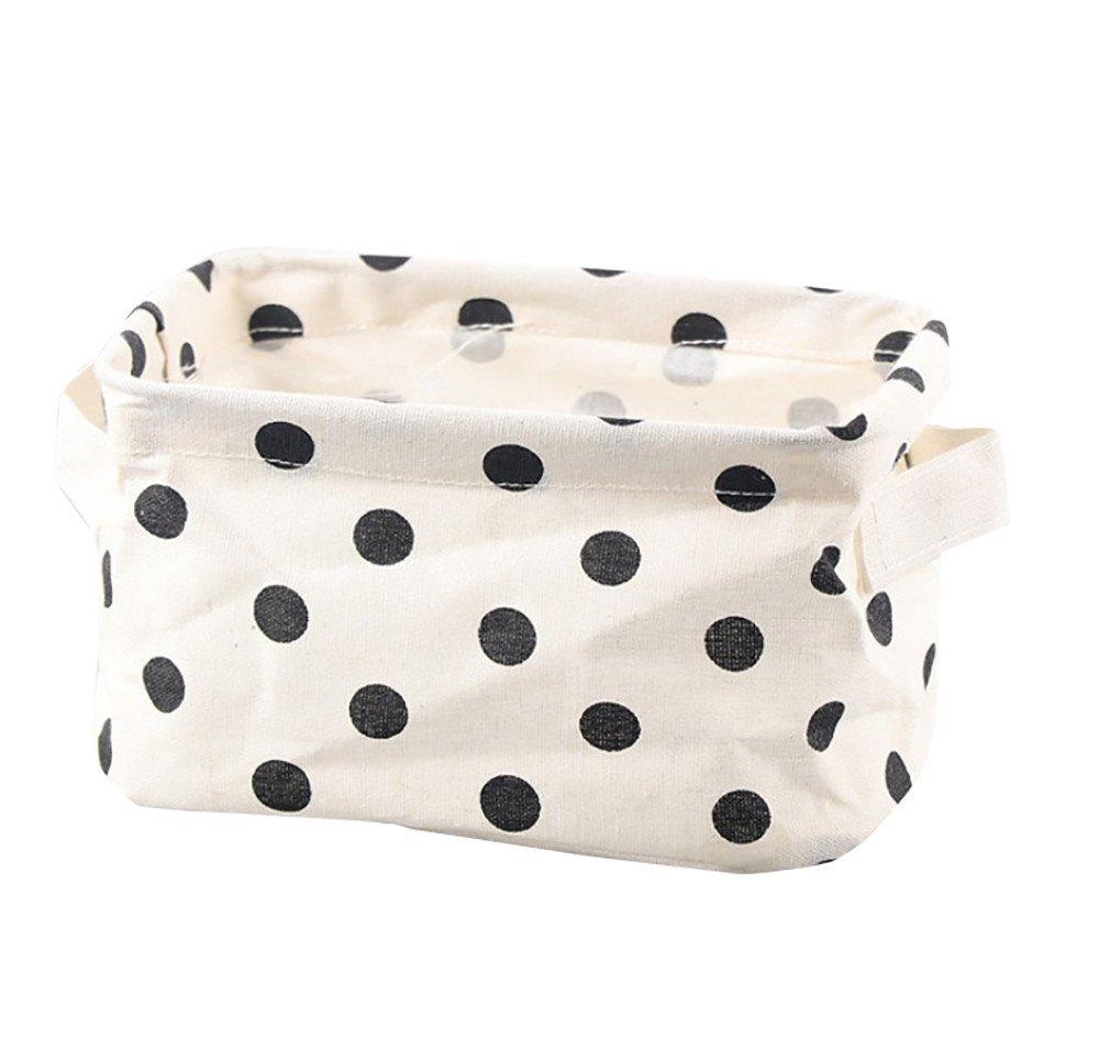 Ecosin Practical Hot Sale Cotton Linen Desktop Storage Basket Sundries Storage Box with Handle (D)